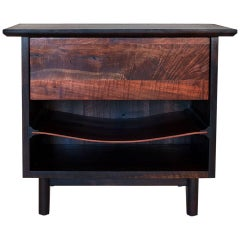 Barton Side Cabinet, Bedside Cabinet/End Table with Saddle Leather Shelf