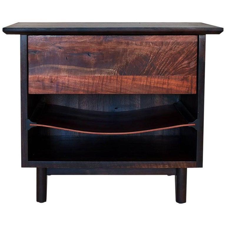 Barton Side Cabinet, Bedside Cabinet/End Table with Saddle Leather Shelf
