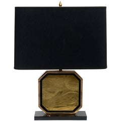 Brass Etched 23 Karat Gold-Plated Table Lamp by George Matthias