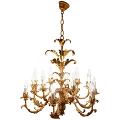 Very Large French 12 Branch Gold Tole Chandelier