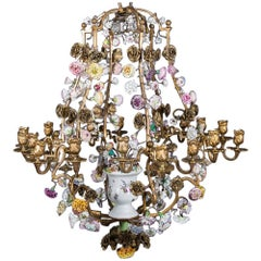 "Porcelain of Meissen Chandelier Stamped with ""C couronné"""