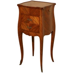 Single French Cherry, Walnut and Satinwood Marquetry Bedside Cupboard