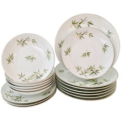 "Mid-Century Japanese Porcelain & Platinum Dinnerware ""Bamboo"" By Wentworth S/16"