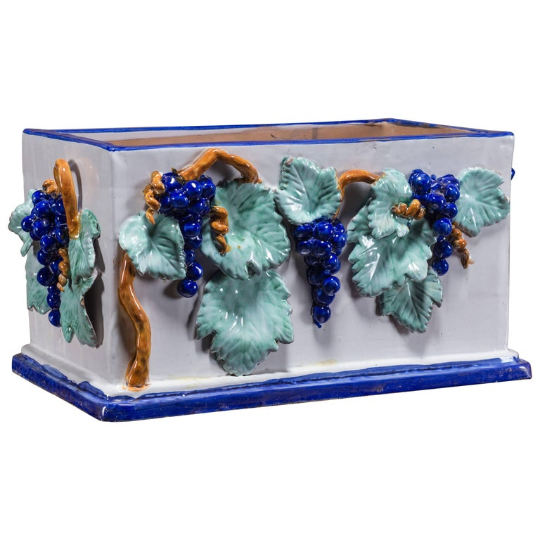 Vintage Italian Ceramic Planter Jardinière by Solimene, Vietri For Sale
