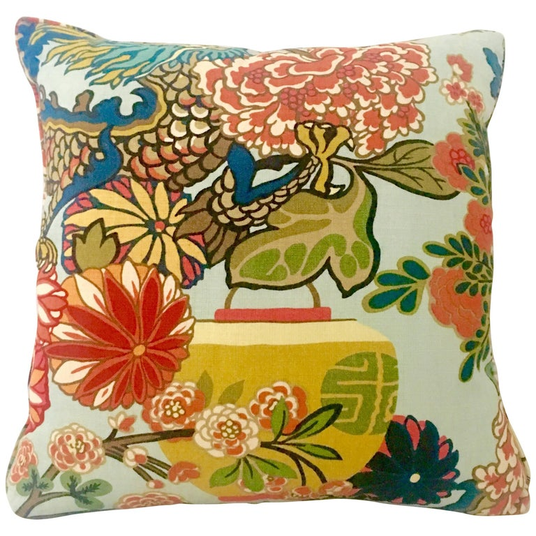 """21st Century New Linen & Down Square """"Dragon"""" Pillow By, Schumacher For Sale"""