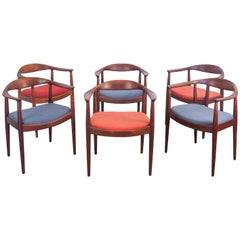 Set of Six Wegner Style Dining Armchairs for Edward Axel Roffman