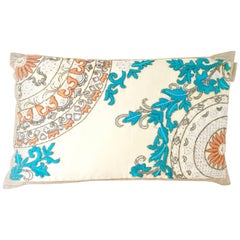 21st Century Moroccan Style Silk Embroidered Down Pillow By, Sivaana
