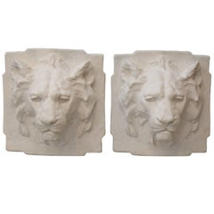 Plaster Lion Head Sculptures