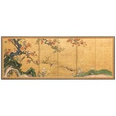 Japanese Six-Panel Screen, Autumn Audobon Scene