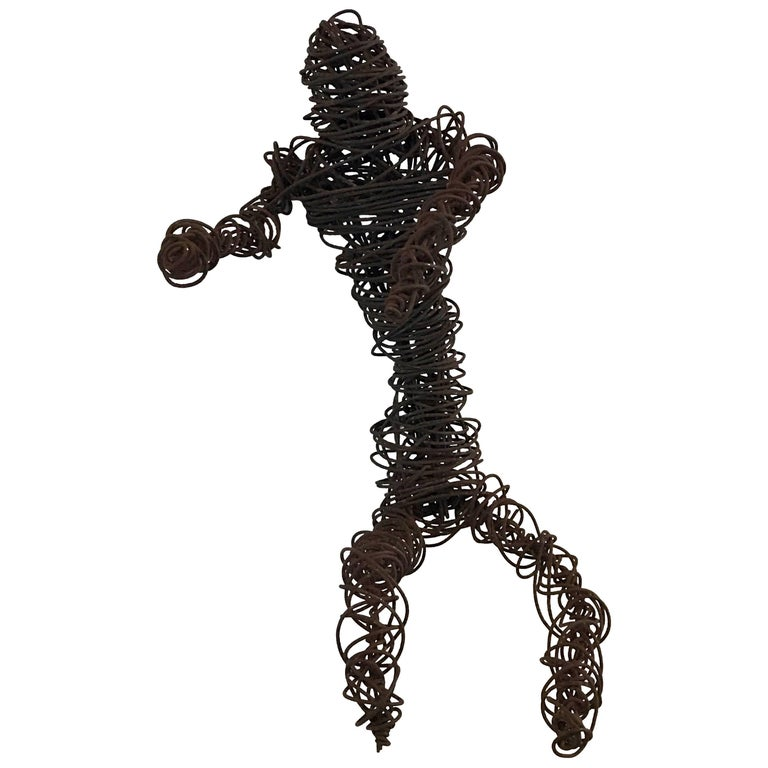 "Mid-Century Brutalist ""Man Art"" Nude Male Wire Sculpture"