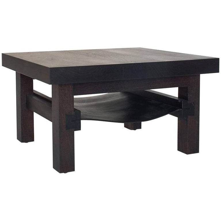 Dovetail Low Table or Coffee Table with Leather Shelf