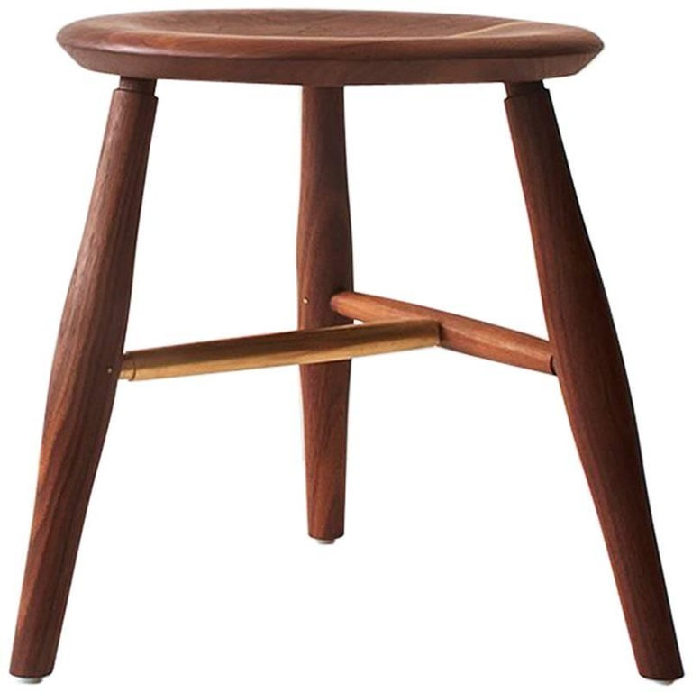 Swell Dining Stool, Turned Leg and Brass Stool
