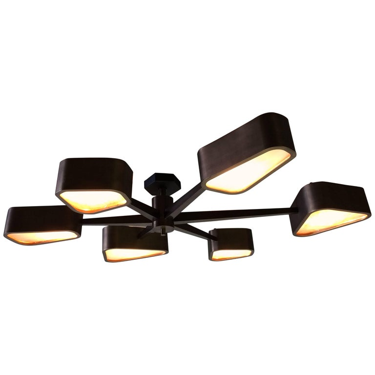Great Six-Arm Chandelier, Bronze Finish and Glass Inserts