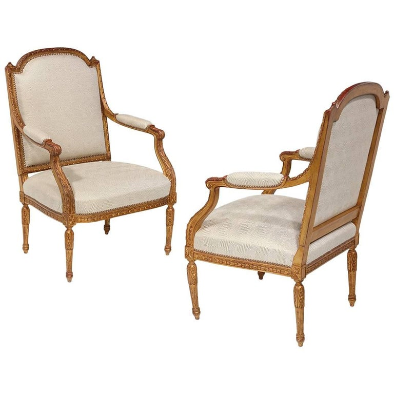 19th Century Louis XVI Pair of Fauteuils
