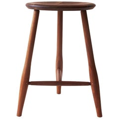 Swell Counter Stool, Turned Leg and Brass Stool