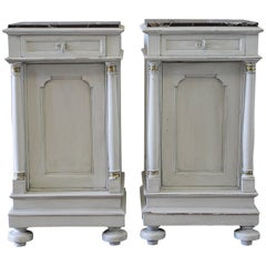 Pair of Painted Neoclassical Style Nightstands with Marble Tops