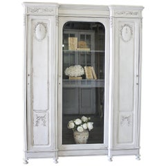 Antique French Style Painted and Carved Display Triple Armoire