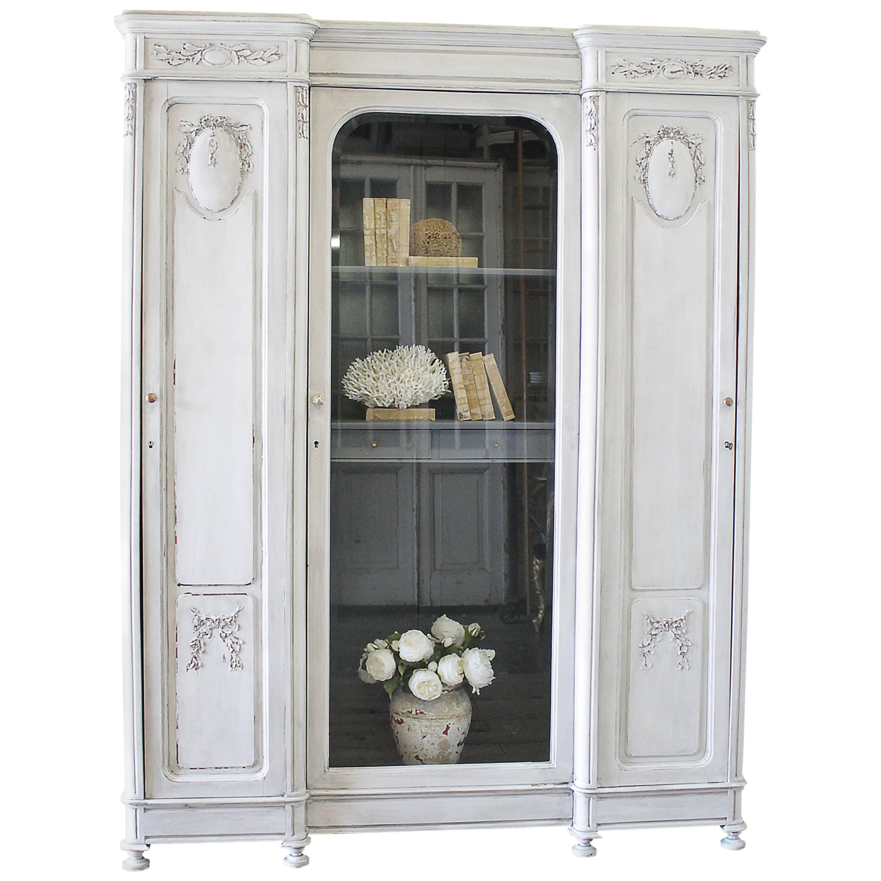 Antique French Style Painted And Carved Display Triple Armoire For Sale
