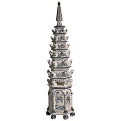 Italian Blue and White Painted Faience Pagoda Form Tulipiere, Mid-20th Century