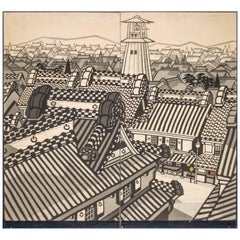 Japanese Two-Panel Screen, City View of Kyoto