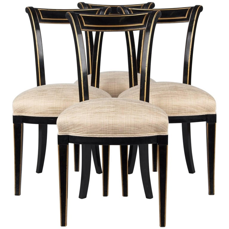 Set of Four French Neoclassical Ebonized Chairs by Maurice Hirsch, 1950s