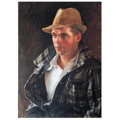 """Man in Plaid Jacket,"" Glowing Portrait of Handsome Male Figure, Depression Era"