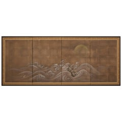 Japanese Four-Panel Screen, Rocks and Waves
