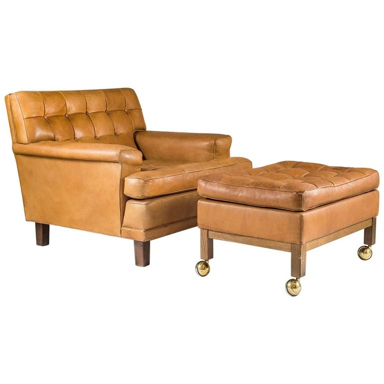 """Midcentury Swedish Lounge Chair and Ottoman """"Merkur"""" by Arne Norell"""