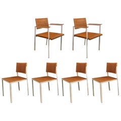 George Nelson Steel Frame Chairs, Set of Six, Herman Miller 1952