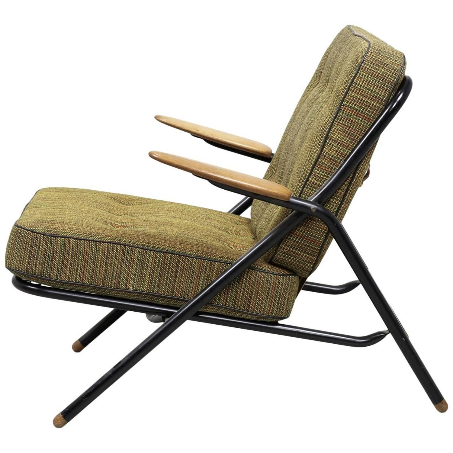 Hans Wegner GE215 Sawbuck Lounge Chair in Original Upholstery For