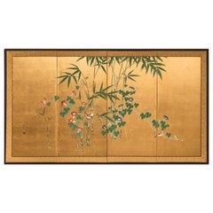Japanese Four-Panel Screen, Young Bamboo and Morning Glory