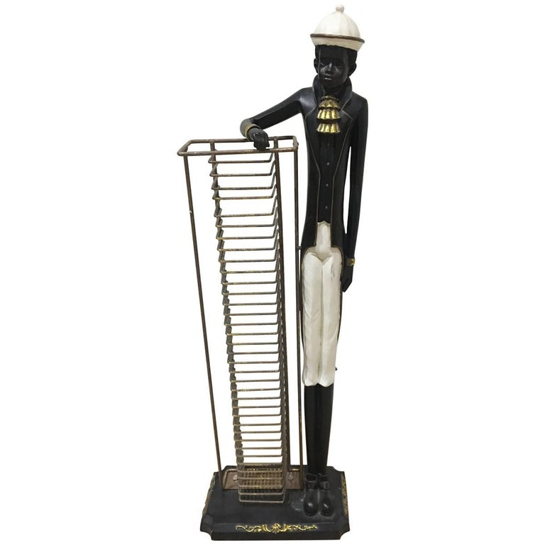 Wooden Design Cd Storage Rack Standing Man For Sale At 1stdibs