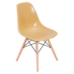 Straw Mustard Eames Shell Chairs on Maple Dowel Base