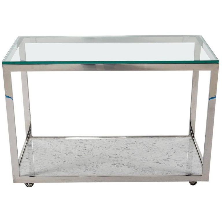 Midcentury Chrome Glass and Marble Bar Cart For Sale