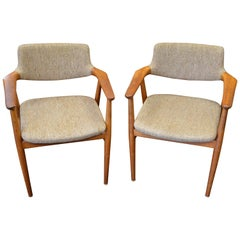 "Midcentury Teak ""Elbow"" Chairs Designed by Erik Kirkegaard 'Pair'"