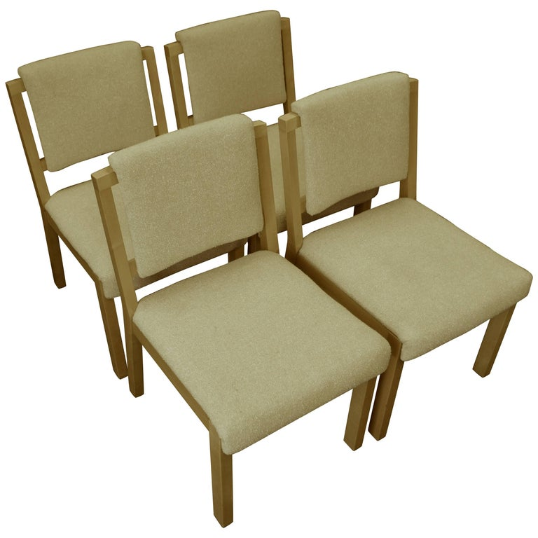 Midcentury Dining Chairs with Maple Frames and Wool Upholstery, Set of Four