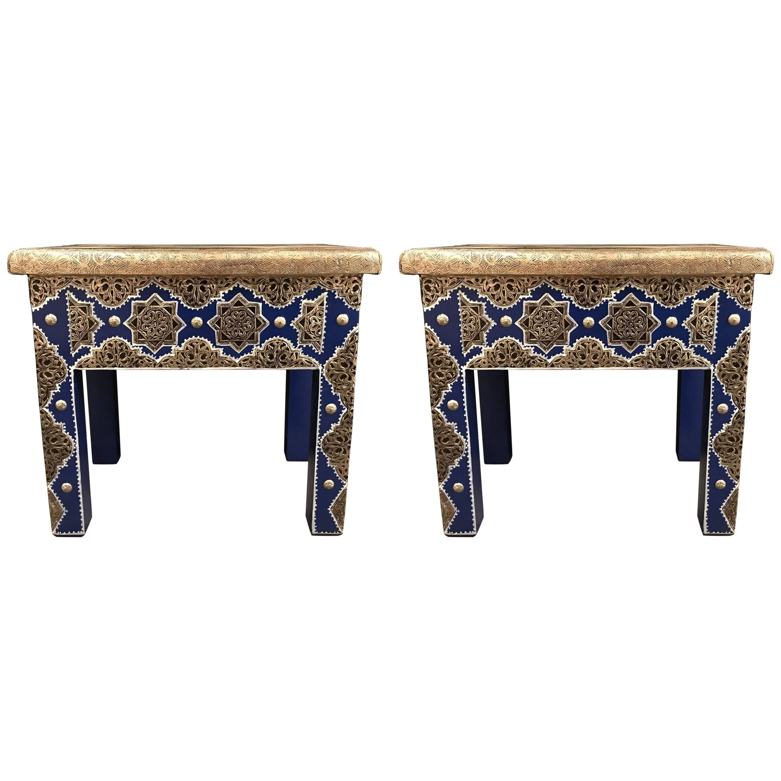 Pair Of Moroccan Silver Metal Inlaid Blue Rectangle Side Table