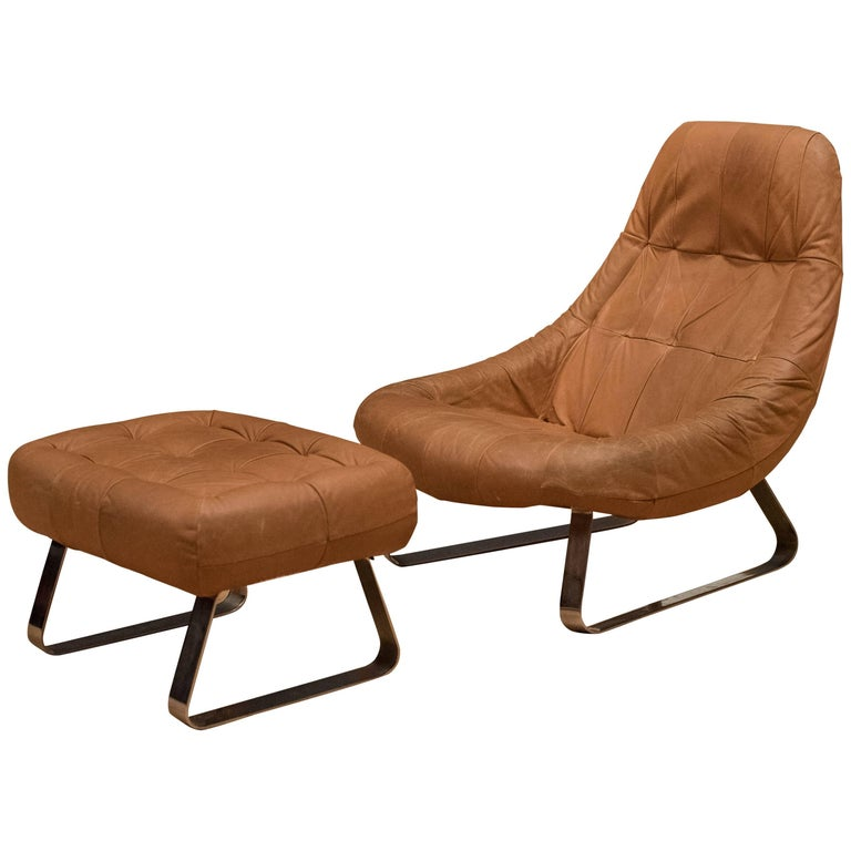 Brazilian leather lounge chair and ottoman by percival lafer for sale at 1stdibs - Mid century modern chair and ottoman ...