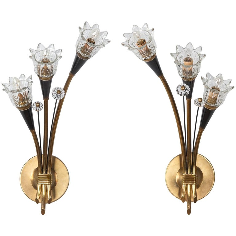 Midcentury Pair of Metal and Glass Sconces by Lunel, 1950s