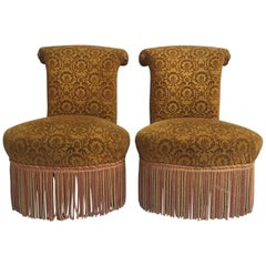 Elegant Pair of Antique French Upholstered Slipper Chairs