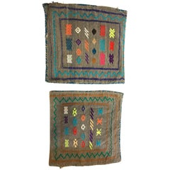 Pair of Moroccan Hand-Loomed Wool Pillow Case