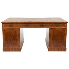 Large Antique English Walnut Double-Pedestal Desk, circa 1920