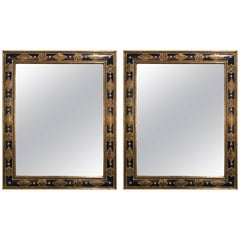 Large Pair of Moroccan Moorish Style Blue Mirrors