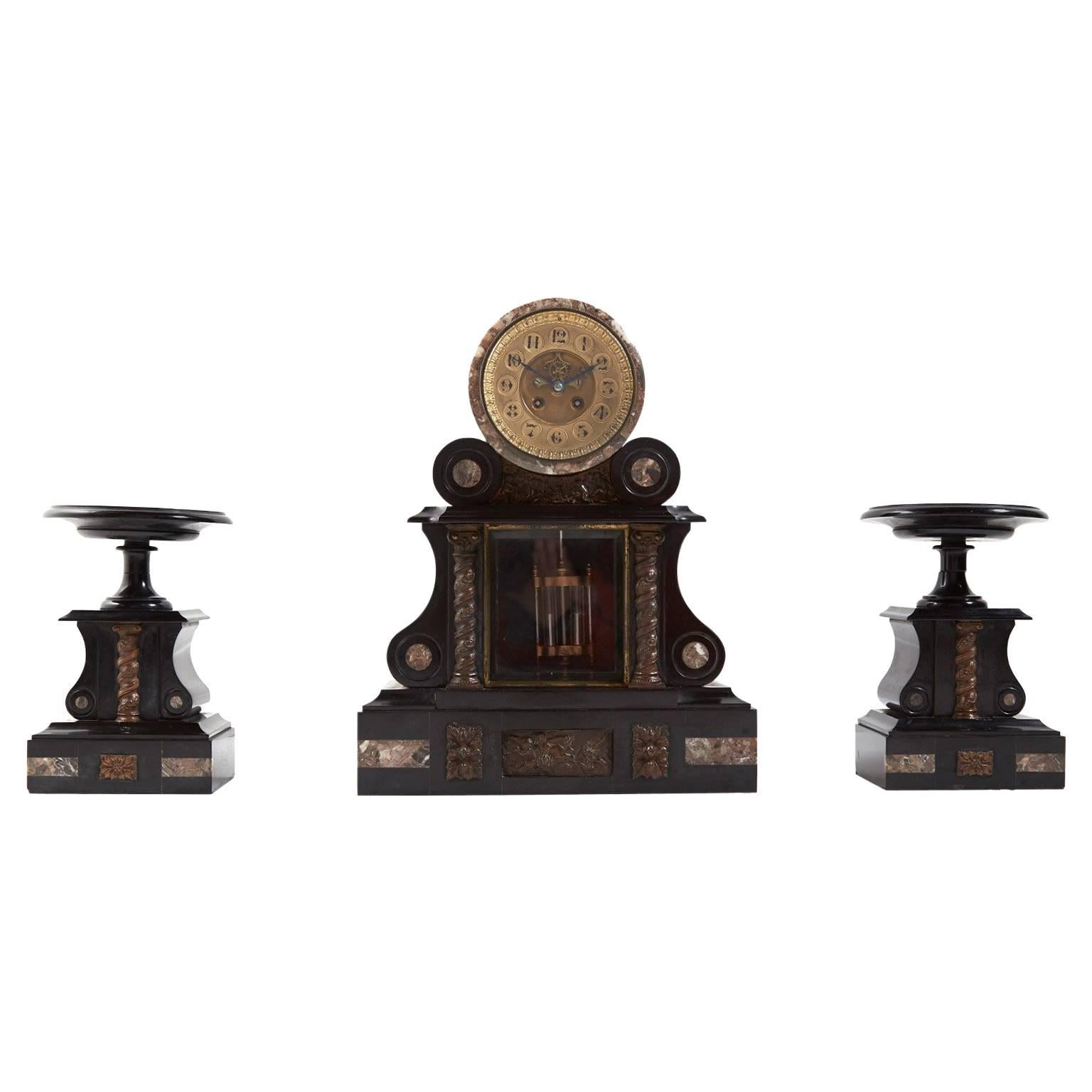 Large Antique French Marble and Bronze Mantle Clock, circa 1880