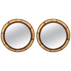 Pair of White Brass Moorish Style Mirrors