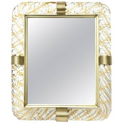 Italian Murano Vintage Glass and Brass Picture Frame/ SATURDAY SALE