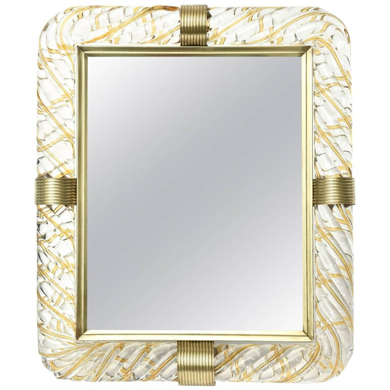 Italian Murano Vintage Glass And Brass Picture Frame For Sale At 1stdibs