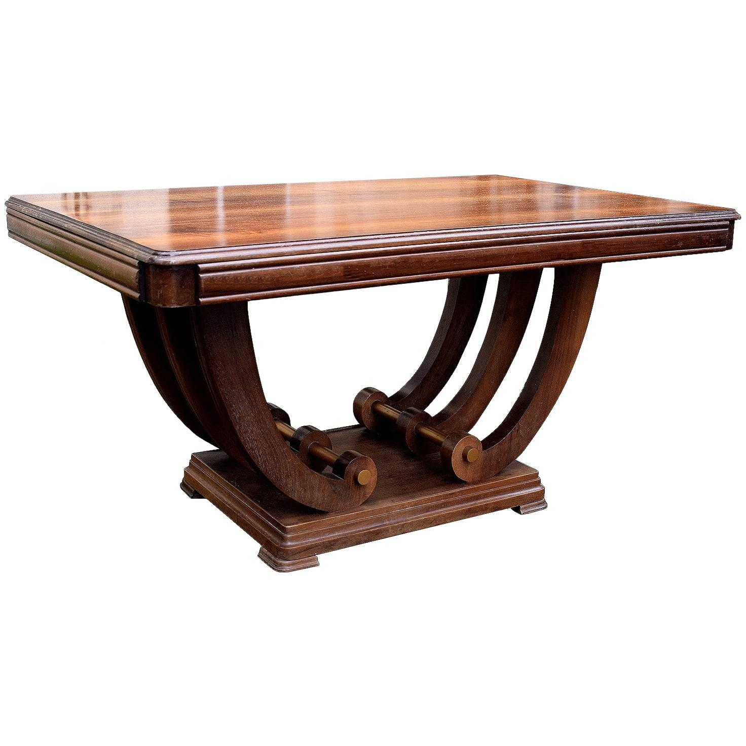 1930s Art Deco Solid Walnut Dining Table