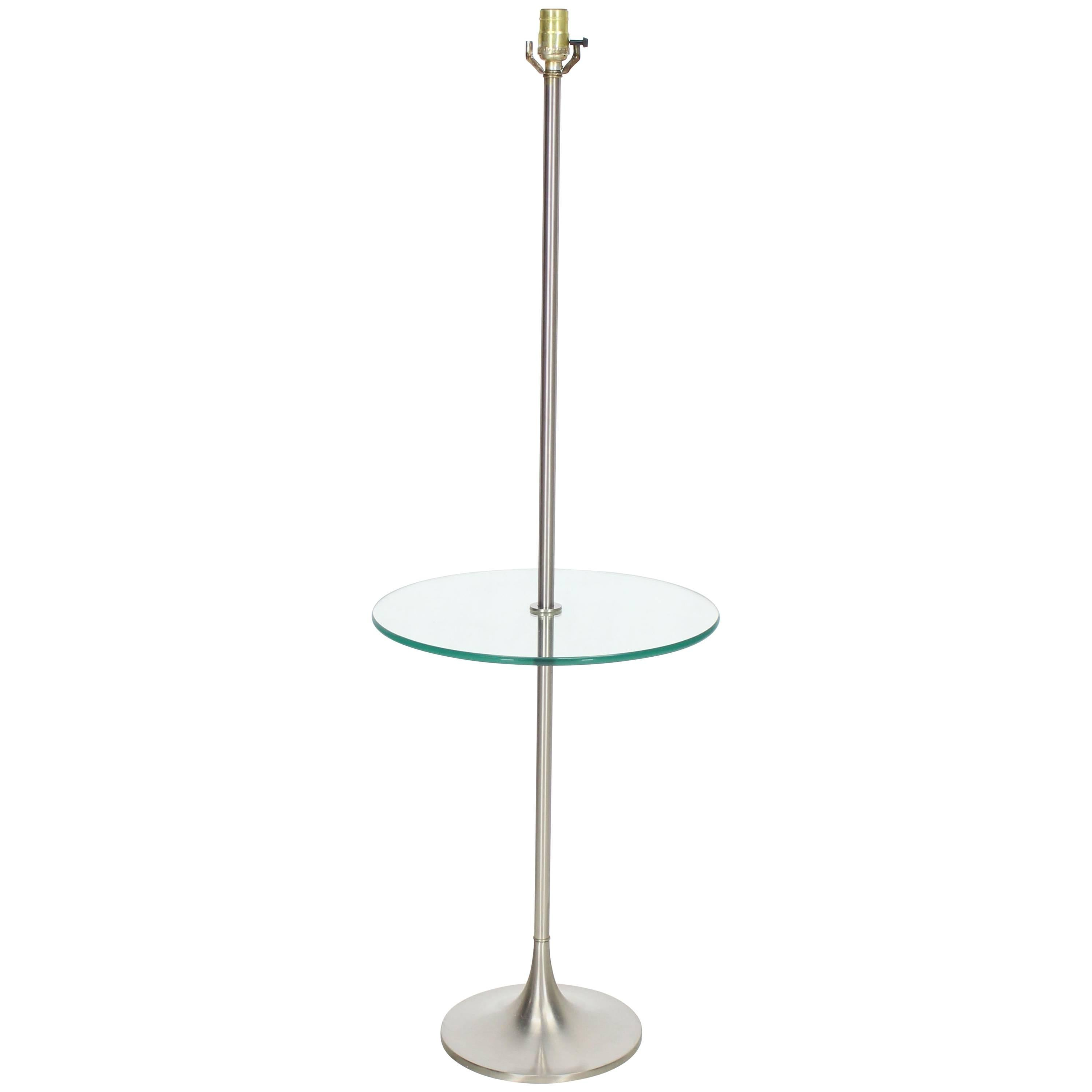 Brushed Finish Metal Glass Built in Table Floor Lamp