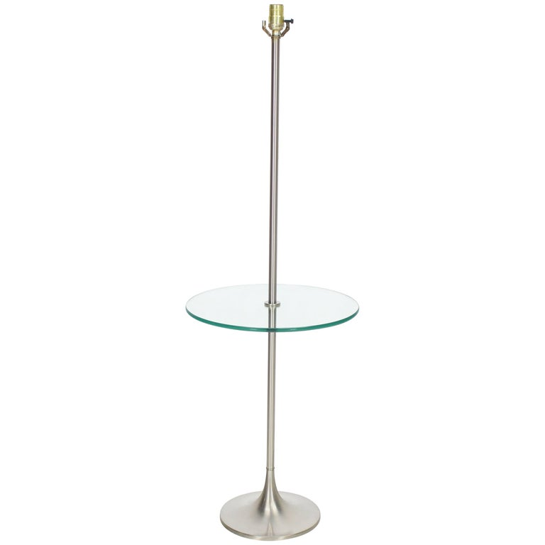 Brushed Finish Metal Glass Built in Table Floor Lamp For Sale